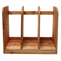 Home & Office Natural Brown Wood 3 Compartment Tabletop ...