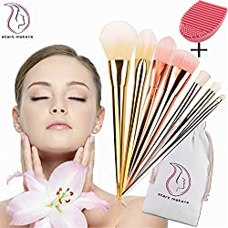 Start Makers Gold rosé silber 7 Stück make up pinsel + 1 Pinselreiniger - Professionelles Pinselset - Foundation Lidschatten Kit mit Luxusgriff - Soft - extra weiches Pinselset