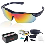 POSHEI P02 Polarized UV Protection Sports Glasses For Men Or Women, Cycling Wrap Sunglasses With 5 Interchangeable Lenses Unbreakable, For Riding Driving Fishing Running Golf And All Outdoor Activities (Black)