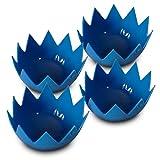 LotusPoachers Silicone Egg Poachers (Set of 4)...Brand-New-Design...Premium Non Stick Egg Poaching Cups...Blue