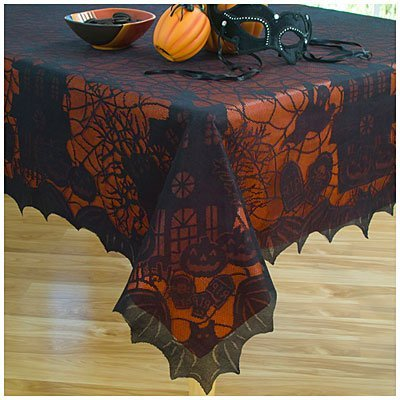 Halloween Lace Tablecloth with Vinyl Liner - 60 X 84 Oblong