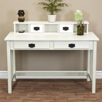Best Choice Products Mission White Solid Wood Writing Desk ...