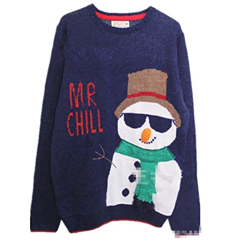Lana Hua Women's Happy Snowman in Sunglass Ugly Christmas Sweater Knitted Jumper