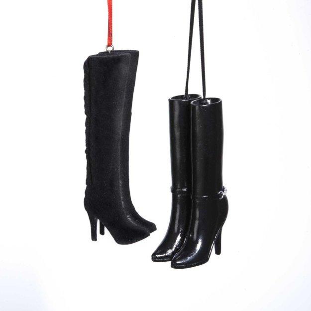 Kurt Adler Set of 2 Black Boots Christmas Ornament