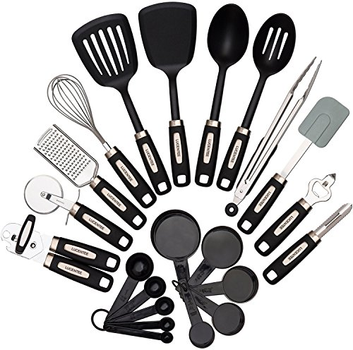kitchen utensil sets best faucet brand 22 piece utensils home cooking tools stainless steel nylon gadgets turners tongs spatulas pizza cutter whisk bottle opener grater
