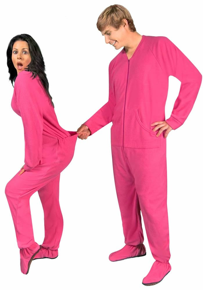 Women's Fleece Footed Pajamas With Drop Seat