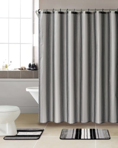 3 piece bath rug set w shower curtain and matching rings greyblack super cheap peppermint os1