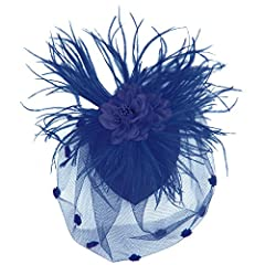 Zad Womens Feather & Mesh Fascinator Hair Clip (Dark Blue)