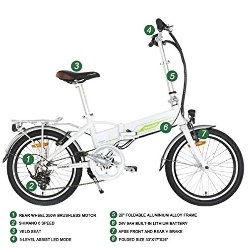 Onway 20 Inch 6 Speed Folding Electric Bicycle, Built-in