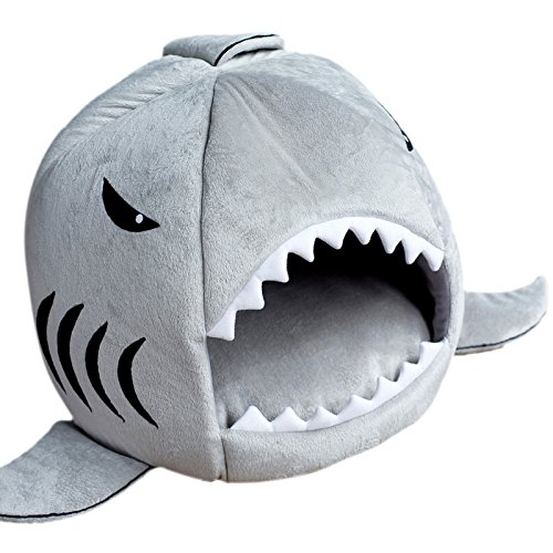 Warm Removable Cushion Mat Shark Mouth Dog Cat Pet Bed House S M