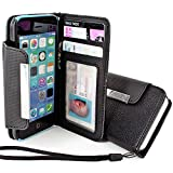 myLife Onyx Black {Business Classy Design} Faux Leather (Card, Cash and ID Holder + Magnetic Closing + Hand Strap) Slim Wallet for the iPhone 5C Smartphone by Apple (External Textured Synthetic Leather with Magnetic Clip + Internal Secure Snap In Hard Rubberized Bumper Holder)