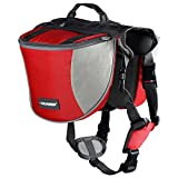 Cade Outdoor Hiking Camping Training Adjustable Dog Saddle-harness Bag Large Capacity Dog Backpack with Reflective Stripe (M, red)