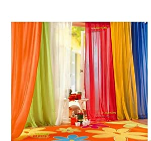 6 Piece Rainbow Sheer Window Panel Curtain Set Blow Out Pprice Special Lime