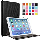 MoKo Apple iPad Air Case - Slim-Fit Case with Stand for iPad 5 Air (5th Gen) Tablet, Carbon Fiber BLACK (With Smart Cover Auto Wake / Sleep)