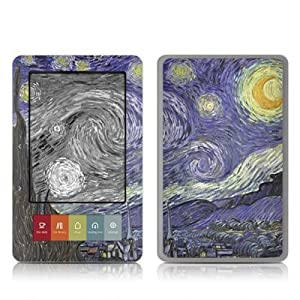 Van Gogh - Starry Night Design Protective Decal Skin Sticker for Barnes and Noble NOOK (Black and White LCD) E-Book Reader - High Gloss Coating
