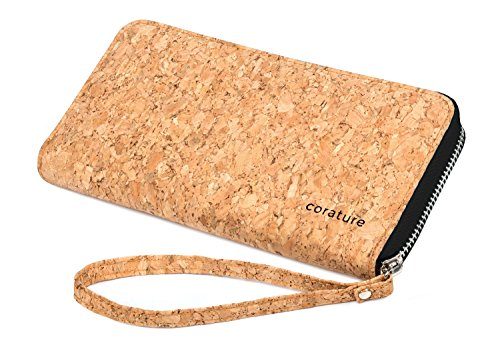 Womens Clutch Wallet Evening bag. Sustainable Cork Fabric Vegan Leather Handbag (Black)