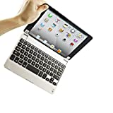 E-THINKER Slim Portable Wireless Bluetooth Keyboard Case Cover Aluminum Stand Protector for Apple Ipad Mini (Silver)