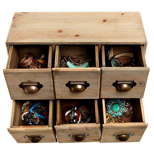 Vintage Style Wood 6 Drawer Cabinet Box Decorative