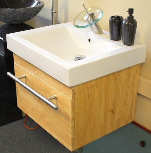30 Inch Wide Wall Mount Natural Finish Modern Bathroom Vanity And Integrated Porcelain Sink Set 66n Pojononfonaonoeno