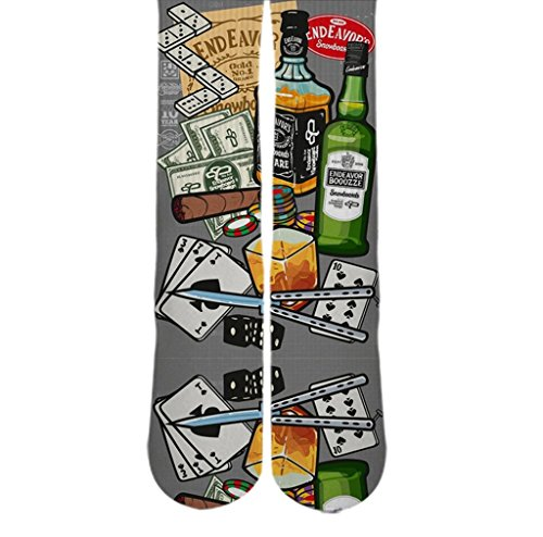 Dopesox Mens Dominoes And Booze Inspired Sublimated Socks One Size (6-12) White