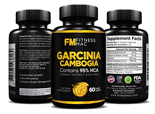 100% Pure Garcinia Cambogia Extract with 95% HCA - Carb Blocker, Appetite Suppressant and Weight Loss Supplement, 60 Safe and Effective Diet Pills - Includes FREE ebook!