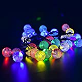 AVAWO Solar Power Lights String Outdoor, 19.7ft 30 LED Colorful Bright Crystal Ball Solar Fairy String Lights for Landscape, Gardens, Homes, Wedding, Christmas Party, Waterproof (Multi-colored)