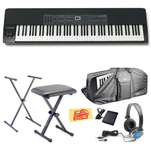 M-Audio ProKeys 88 88-Key Graded Hammer-Action Premium Stage Piano Bundle with Stand, Bench, Gig Bag, Sustain Pedal, Stereo Headphones, and Polishing Cloth