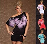 Sexy Stretch Minikleid Kleid mit asymmetrischem Schnitt Dress