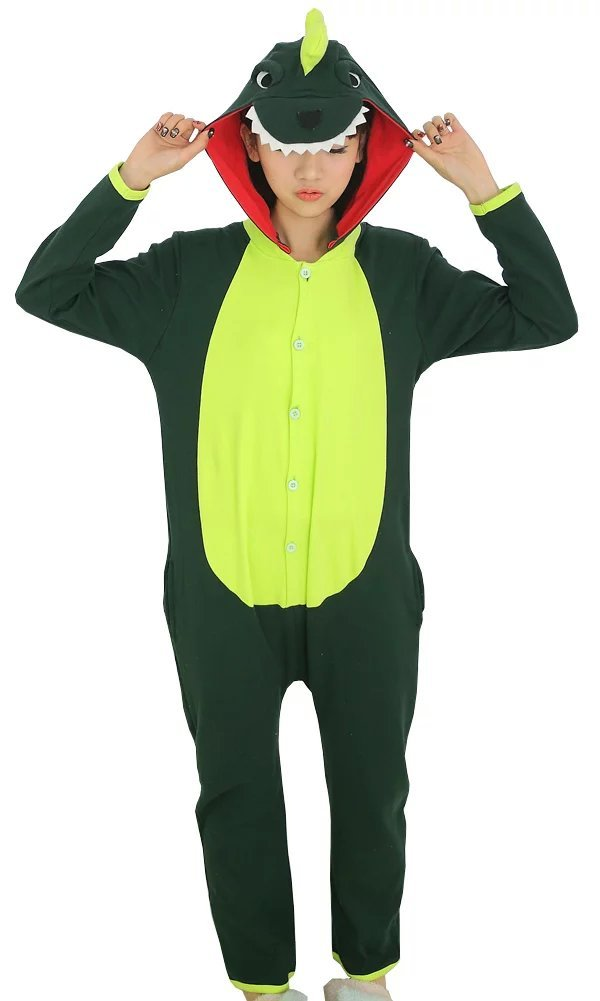 Women's Long Sleeves Funny Dinosaur Cotton Onesie Pajamas Green  Kigu