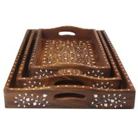 Set of 3 Wooden Decorative Trays with Inlay