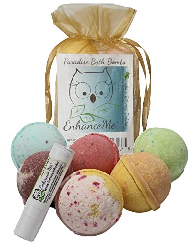 Bath Bombs Gift Set, w/FREE Lip Balm from Enhance Me, Organic Sustainable Palm Oil, Handmade in USA with Shea Butter, Coconut Oil, 6 Bomb Gift Set, 'See, Smell, & Feel the Difference'