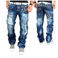 Kosmo Lupo Designer Jeans Hose Herren Cargo Style Blau
