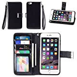 IZENGATE Apple iPhone 6 Plus (5.5 Inch) Wallet Case - Executive Premium PU Leather Flip Cover Folio with Stand (Black)