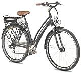 Ruhrwerk Fahrrad (622 mm) E-Bike Pedelec 24 V Da. Trekk. Gaze mit 8-Gang Shimano Kettensch., gef. mit Nabendynamo, tiefschwarz matt, 45 cm, 28 Zoll