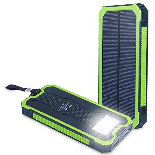 Aedon モバイルバッテリー15000mAh ソーラーチャージャー 2USB出力ポート 二つの充電方法 6個LED付き iPhone、iPad、iPod、Samsung デバイス、HTCフォン充電ができる、旅行・ハイキングや地震・災害時が必要なもの 緑色+黒色