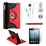 GEARONIC TM iPad Mini/ Mini 2 Retina Display 5-in-1 Accessories Bundle Red and black Rotating Case Business Travel Combo