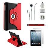 GEARONIC TM iPad Mini/ Mini 2 Retina Display 5-in-1 Accessories Bundle Red and black Rotating Case Business Travel Combo
