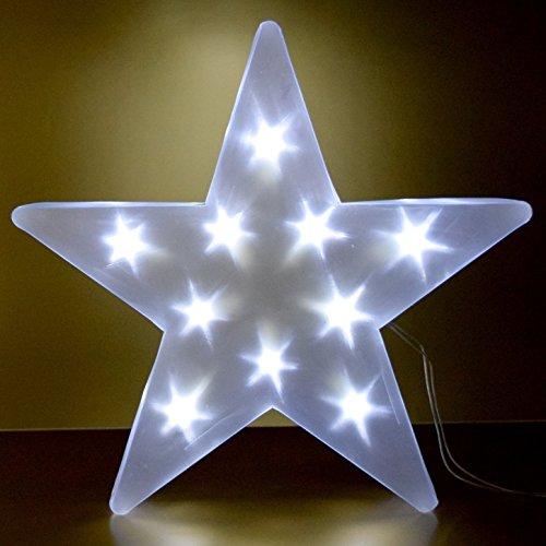 (A307) LED Stern Kaltweiss Leuchter 3D 45x45cm Hologramm-Effekt Batteriebetrieb