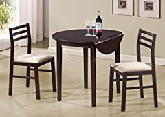 Monarch Specialties 3-Piece Dining Set with a 36-Inch Diameter Drop Leaf Table, Cappuccino