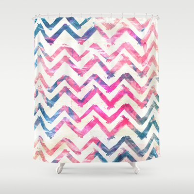 Pretty Pink Chevron Shower Curtain Designs