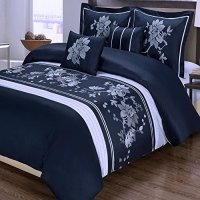 5pc Modern Floral Navy Blue White Cotton Bedding Duvet ...