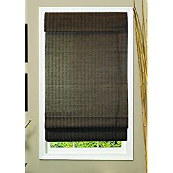 Lewis Hyman 0775131 Natural Woven Fiber Roman Shade, 31-Inch Wide by 72-Inch Long, Espresso