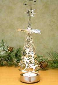 Spinning Christmas Tree Candle Holder with Angels ...