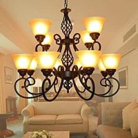 FJL- Living Room Dining Room Chandelier 12 Lights, Brown ...