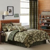 Teen Boy Green Brown Camouflage Queen Comforter Set (8pc ...