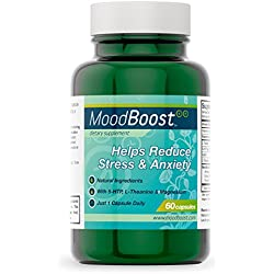 Mood Boost (60 Vegetarian Capsules) by LES Labs • Helps Reduce Stress & Anxiety • With 5-HTP, Magnesium, Passion Flower, L-Tyrosine & L-Theanine