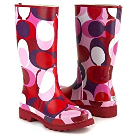 Coach Paisley Pink Rain Boots