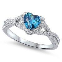 Sterling Silver Heart Shape CZ Promise Ring - Purple (8 ...
