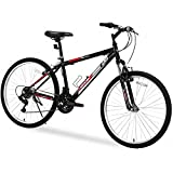 "GTM 26"" 18 Speed MTB Mountain Bike Shimano Hybrid w/Water Bottle Holder, Black Red"