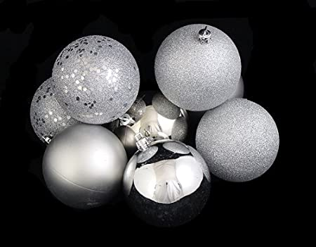60ct Silver Shatterproof 4-Finish Christmas Ball Ornaments